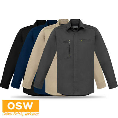 Mens Light Weight Stretch Cotton Tradie Work Shirts - Navy/Charcoal/Khaki/Black
