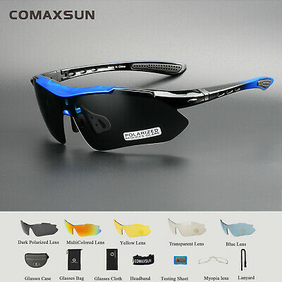 Polarized Cycling Glasses Bike Goggles Sports Sunglasses UV400 5 Lens TR90 5 Col
