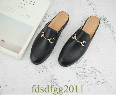 Mens Slip on Horsebit Backless Slippers Real Leather Loafers Shoes US5.5-11.5