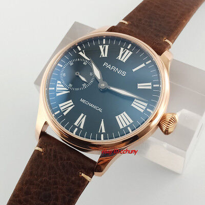 Parnis 44mm Rose Golden Plated 17 Jewels 6497 Hand Winding Watch Wristwatch 2524