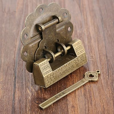 Retro Decorative Padlock & Box Latch Hasp Catch Set For Jewelry Box Chest Case