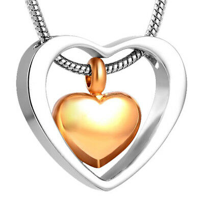 Cremation Jewellery for Ashes Funeral Ash Pendant Gold & Silver Heart Necklace
