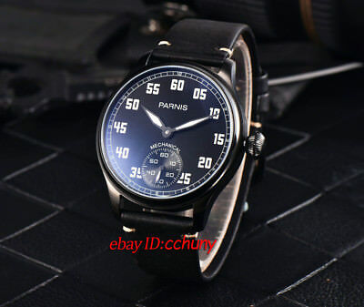 Parnis 44mm Black PVD Case 6498 Hand Winding Movement Men's Wrist Watch 2527
