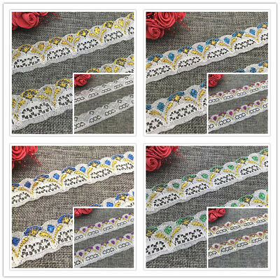 NEW 5/10/20 yards 30mm Unilateral Embroidered Net Lace Bow Ribbon Trim Sewing