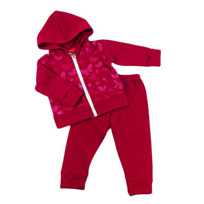 New Girls Track Suit Pants Hooded Fleecy Jacket Top Pink Butterflies Size 2-6