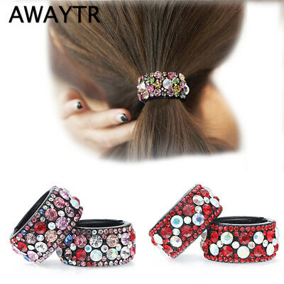 Girl Hair Clips Plastic Crystal Gum for Hair Ponytail Ring Buckle Holder Hairpin