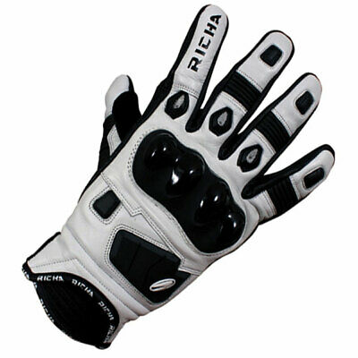 Richa Rock Short Cuff Leather Motorcycle Glove - Black / White