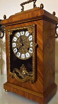French Style Inlaid Kingwood Mantel Clock by Franz Hermle.