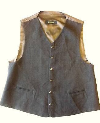 Mens Formal WAISTCOAT Size L Grey with brown back Bachrach BW2