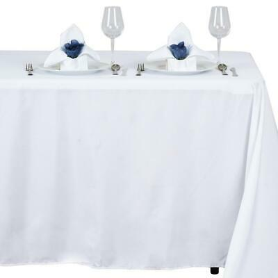 "White POLYESTER 54x96"" RECTANGLE TABLECLOTHS Wedding Party Catering Dinner Linen"