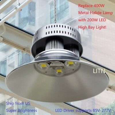 LED 200W High Bay Warehouse Light Bright White Fixture Factory 400W Equivalent