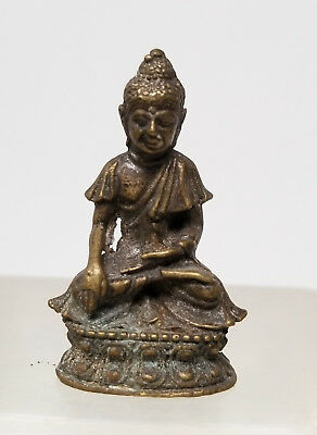 Antique Vintage Chinese Tibetan South East Asian Miniature Cast Bronze Buddha