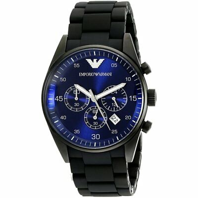 Mens Emporio Armani AR5921 Blue Black Stainless Steel Chronograph Watch RRP £379