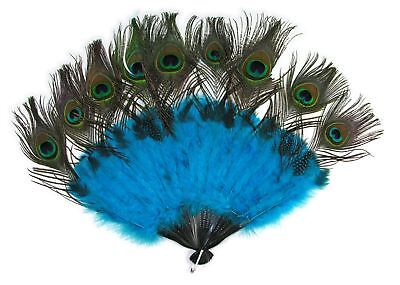 Peacock Tail Fan Feathers Marabou Mardi Gras Halloween Costume Accessory