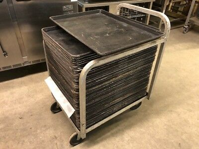 Lot of 50 Perforated Baking Bakery Dough Food Full Size Sheet Pans with Cart