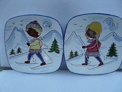 Pair of Graveren Sandnes Norwegian hand painter Pottery Souvenir Plates  SKIERS