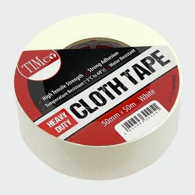 TIMco HDCTWHITE Heavy Duty Cloth Tape White 50m x 50mm