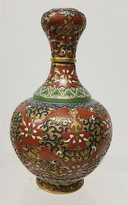 Antique Vintage Chinese Cloisonne Garlic Mouth Vase Gilt FLoral Lotus