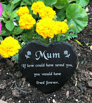 Engraved Natural Slate Heart Memorial Grave Marker Plaque Mum Mothers Day