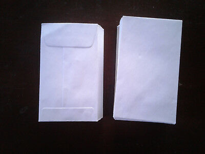 White Envelopes, 100 Count, 4.25 x 2.5, Gummed Seal, Coins, Seeds, Jewelry, #C9