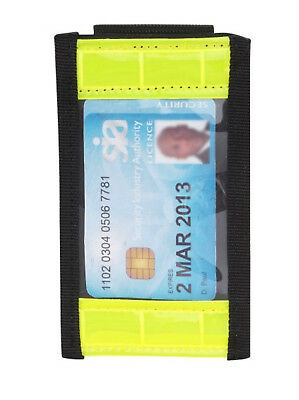 Hi Vis BELT MOUNTED ID Badge Holder Security Badge Card Doorman SIA Guard