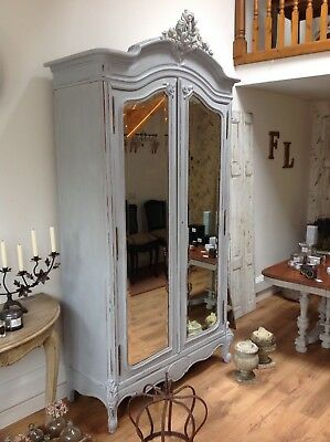 French, Original Armoire -Double Rococo Painted Mirrored Linen Cupboard