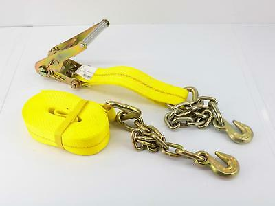 "2"" x 27' Ratchet Strap with Anchor Chain & Long Wide Handle"