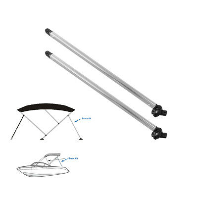 "1"" Aluminum Tube Bimini Top Rear Support Poles pair w/ mounts fits most frames"