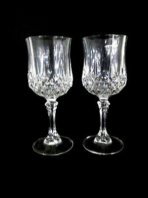 2 Longchamp Crystal Wine Glasses Cristal D'Arques 24% Lead 6 oz Goblets Durand
