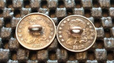 1830 & 1832 Capped Bust Half Dimes. Real Coins made Into Cuff Links! 89% Silver!