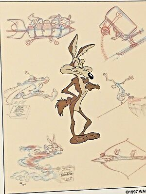 Rare Warner Brothers Wile E Coyote Persona Laminated Cel Promo Binder Page