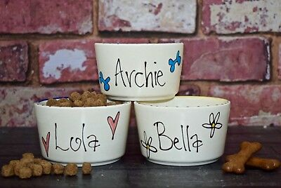 Extra Small Hand painted Personalised Ceramic whimsical dog puppy bowl feeder