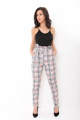 Womens High Waist Paper Bag Floral Check Ladies Skinny Cigarette Trousers Pants