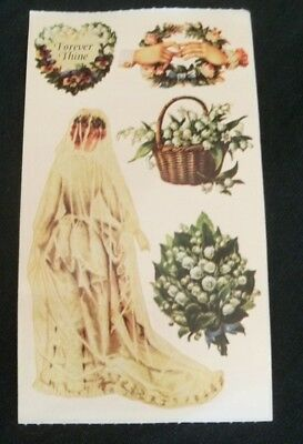 """Vintage Frances Meyer """"Lily of the Valley"""" Victorian Bride, flowers stickers"""