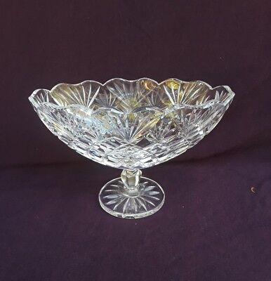 Waterford Crystal IRISH TREASURES Footed Oval Boat Bowl Diamond Cut/Scallped