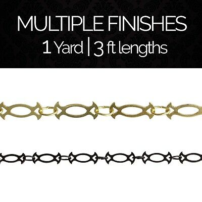 Solid Brass Decorative Motif Chandelier Lighting Chain #47 | (1 yard or 3 ft)