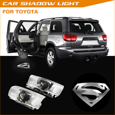 Silver Superman Logo LED Car Door Laser Projector Ghost Shadow Light For Toyota