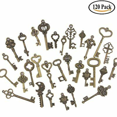 120 Set Old Lock Keys Vintage Style Antique Skeleton Furniture Cabinet Necklace