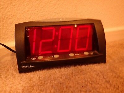 Westclox Extra Large Red LED Display Digital Electric Alarm Clock with Snooze
