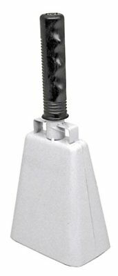 """10"""" White Loud Cowbell Cheering Sporting Events Noise Maker Comfy Grip Handle"""
