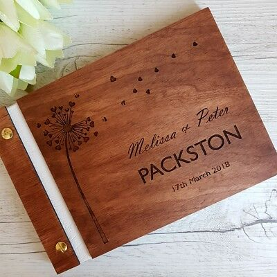 Dark Wooden Personalised Wedding Guest Book A4 A5