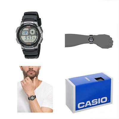 Men's Sport Watches AE1000W-1BVCF Silver-Tone Black Digital Resin Band Free