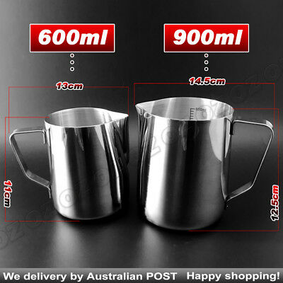 Thickening Stainless Steel Coffee Frothing Milk Tea Latte Jug with Scale AU