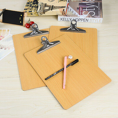 Wooden Plank Clip Clipboard Hanging Hole Menu A4 Clip Board Office Stationery