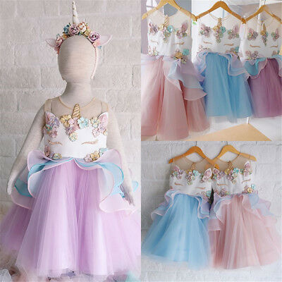 Kids Baby Girls Unicorn Bridesmaid Party Pageant Formal Tulle Dress Clothes UK