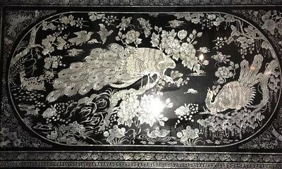 "Korean Fold Up Tea Table Black Laquer Mother of Pearl Peacock Inlay 48""x29""x11"
