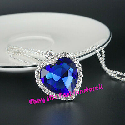 Titanic Heart Of The Ocean Sapphire Big Blue Crystal Necklace with Gift Box
