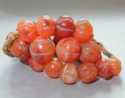 Etnhic OLD Antique Red Agate Carnelian Melon Nagaland Himalayas Prayer Mala Bead