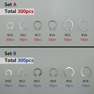 300pcs 304 Stainless Steel External / Internal Circlip Retaining Rings Snap Ring
