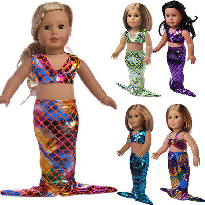 2PCS Glittering Mermaid Clothes For 18 Inch American Girl Doll ( No Doll)